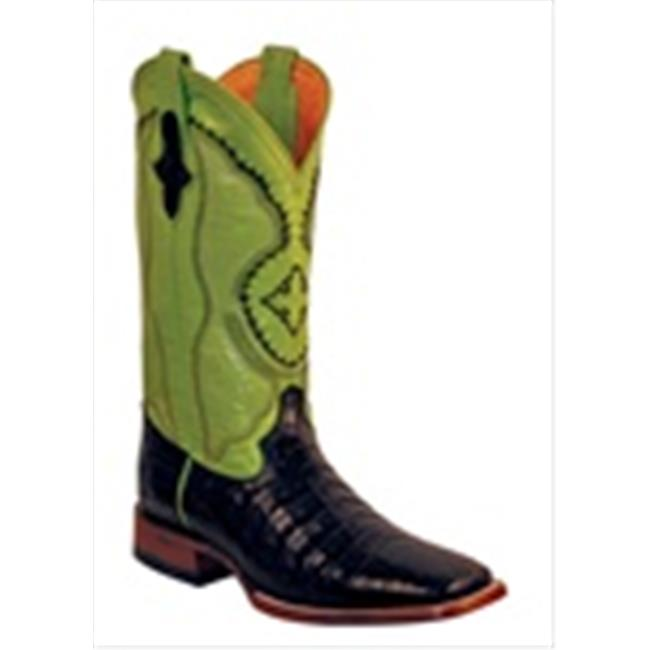 Ferrini 1249304085D Mens Genuine Belly Caiman Square Toe Boots, Black, 8.5D by Ferrini