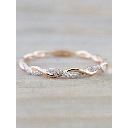 - Lavaport Women Fashion Elegant Twist Wedding Promise Sparkling Ring