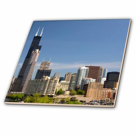 3dRose Willis and Sears Tower, Chicago River, IL - US14 DFR0093 - David R. Frazier - Ceramic Tile, 12-inch