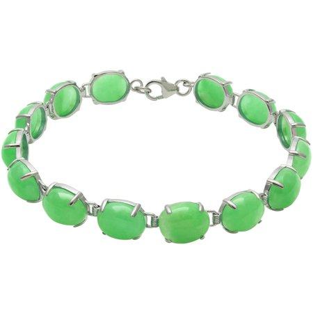 Sterling Silver Natural Green Jade Gemstone Unisex Link Bracelet, 7.5