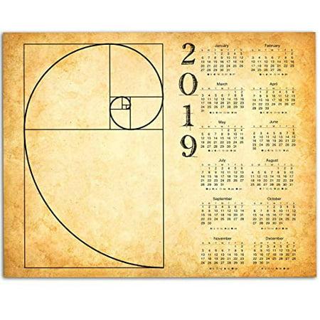 2019 Calendar - Fibonacci Spiral - 11x14 Unframed Calendar Art Print - Great Home Calendar for Artists