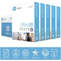HP Printer Paper, Office 20lb, 8.5x11, 5 Ream Case, 2,500 Sheets
