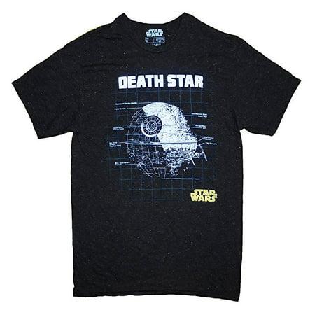 Men's Star Wars Death Star Schematics Grid T-Shirt Speckled Black 2XL