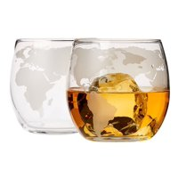 Elegant Whiskey Cups - Etched Globe Design 2 Glass set - Impressive Bar Set