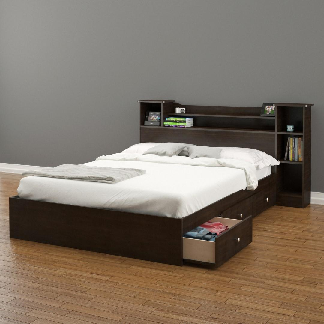 Pocono 3-Drawer Storage Bed with Bookcase Headboard-Size:Full