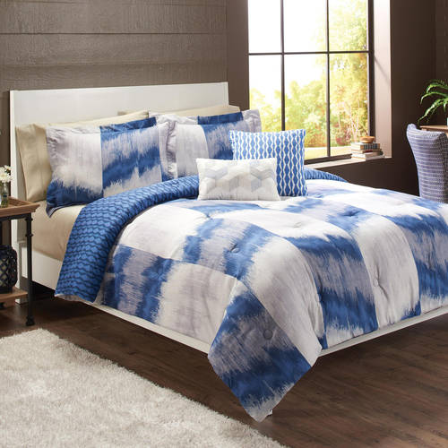 Better Homes & Gardens Full or Queen Ikat Herringbone Comforter Set, 5 Piece