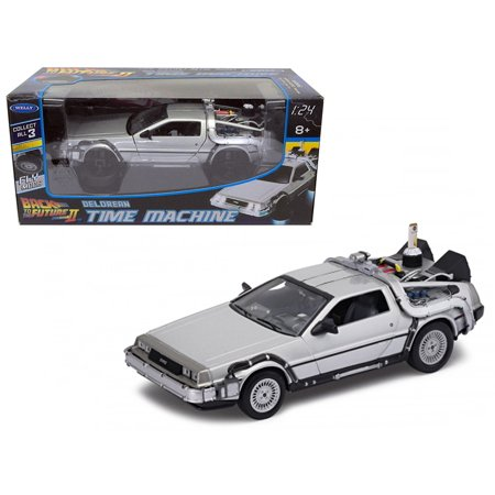 """DeLorean from movie """"Back To The Future 2"""" Flying Version 1/24 Diecast Car Model by Welly"""