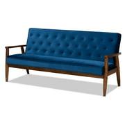 Baxton Studio Sorrento Navy Blue Velvet Upholstered Walnut Wood 3-seater Sofa