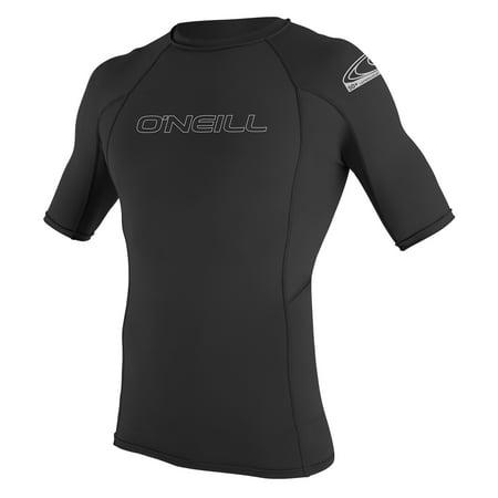 O'NEILL MEN'S BASIC SKINS 50+ SHORT SLEEVE RASH GUARD, Black, Size Large ()