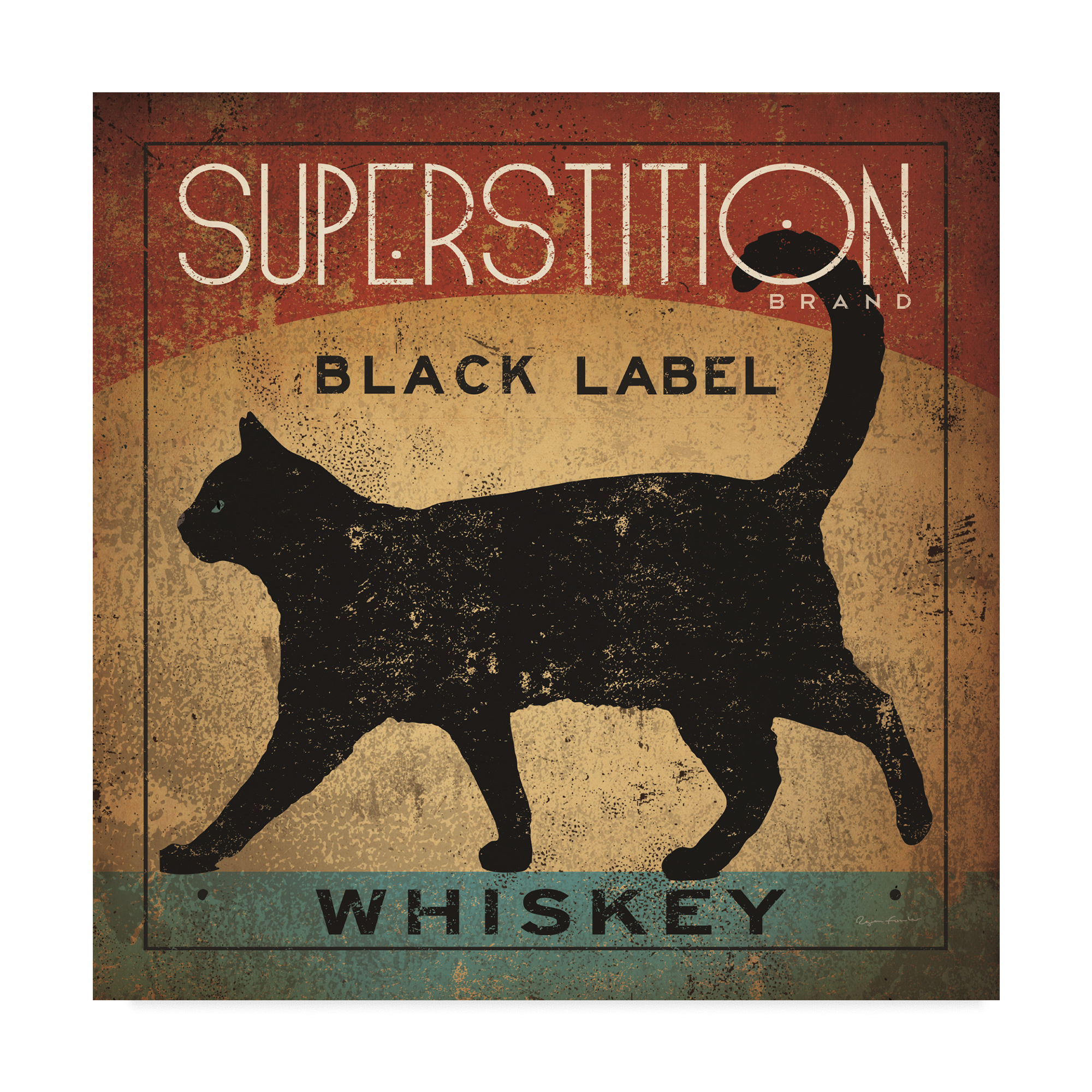 Trademark Fine Art 'Superstition Black Label Whiskey Cat' Canvas Art by Ryan Fowler