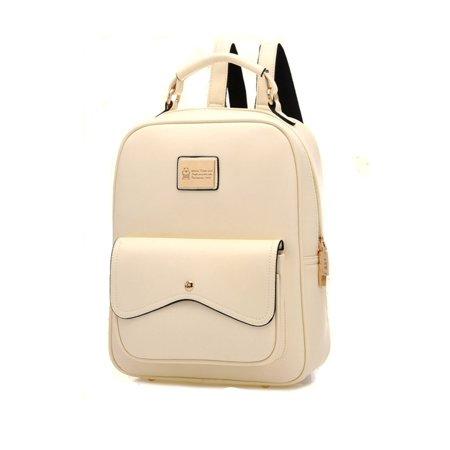 578d1a8266b Meigar - Women Leather Backpack Travel Shoulder Handbag BookBag ...