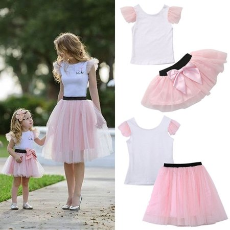 Mother and Daughter Casual Summer T-shirt Skirt Tulle Dress Matching Outfits Set