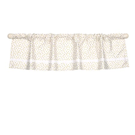 Gold Confetti Dot Print Window Valance by - 100% Cotton Sateen, The Peanut Shell Window Valance features a tailored rod pocket design in a gold confetti print with.., By The - Dot Print Shell