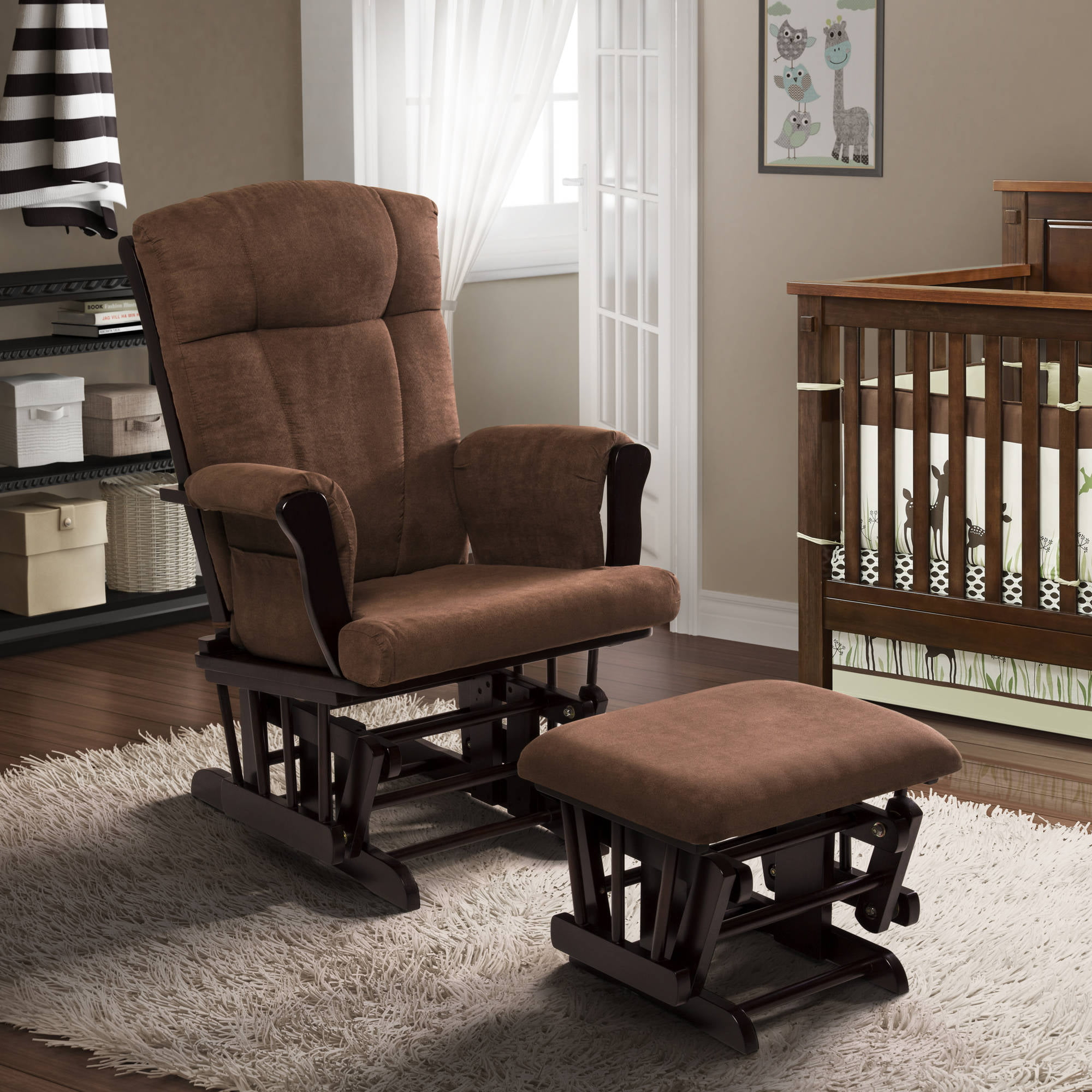 baby relax glider rocker and ottoman espresso with chocolate cushions walmartcom