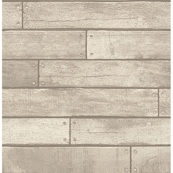 Brewster Weathered Nailhead Plank Wallpaper