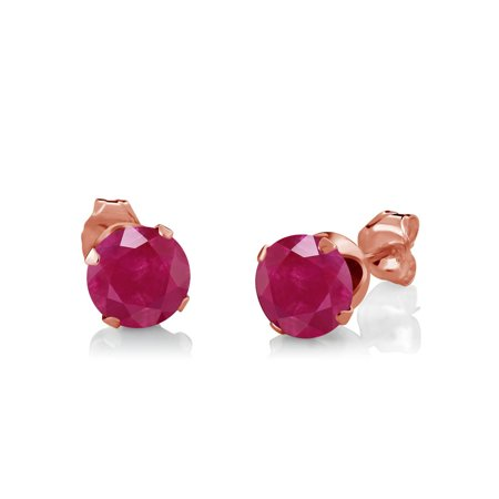 3.05 Ct Red Ruby White Diamond 18K Rose Gold Plated Silver Pendant Earrings Set - image 3 of 5