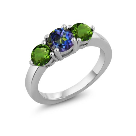 1.80 Ct Round Blue Mystic Topaz Green Chrome Diopside 925 Sterling Silver Ring