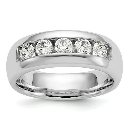 14K White Gold Ring Band Wedding Diamond Round 5-Stone Channel , Size 8