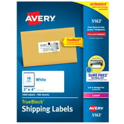 """Avery Shipping Labels, Sure Feed, 2"""" x 4"""" 1,000 White Labels (5163)"""