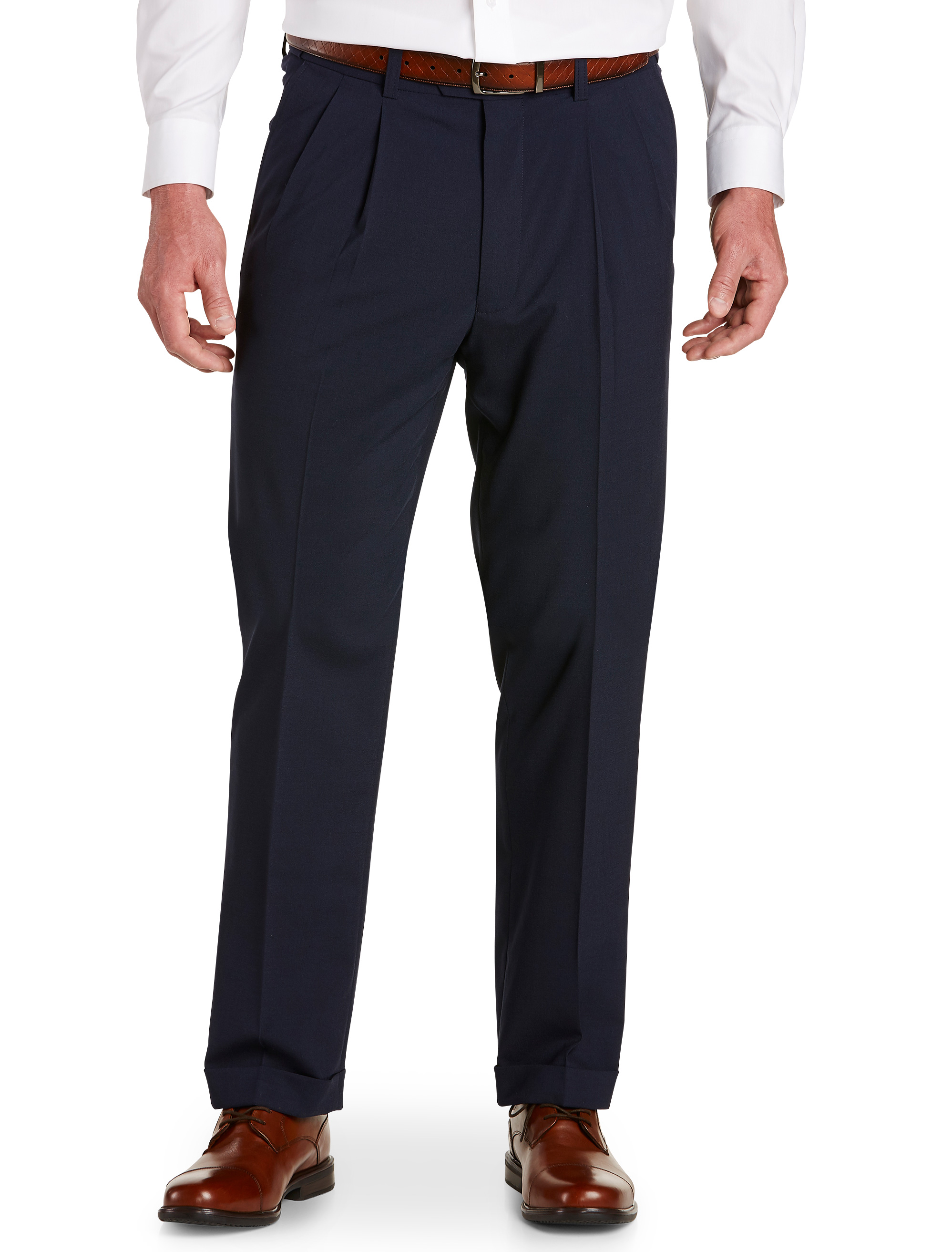 Men's Big & Tall Gold Series Perfect Fit Waist-Relaxer Unfinished Pleated Suit Pants