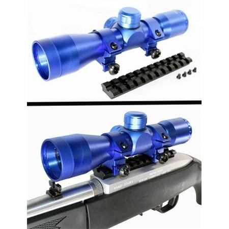 HUNTING 4X32 MilDot Scope Blue Kit For Ruger 10 22 TRINITY Weaver Rail Rings Complete (M&p 15 22 10 Round Short Magazine)
