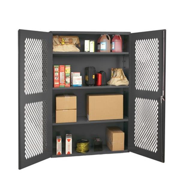 14 Gauge Recessed Door Style Lockable Ventilated Cabinet with 3 Adjustable Shelves, Gray - 48 x 18 x 72 in.