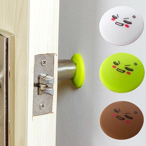 Girl12Queen 4 Pcs Silicone Door Handle Knob Crash Pad Self Adhesive Anti Collision Bumper Sticker