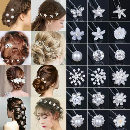 LUXUR 20Pcs Wholesale Lot Women Wedding Bridal Pearl Flower Crystal Hair Bobby Pins Clips