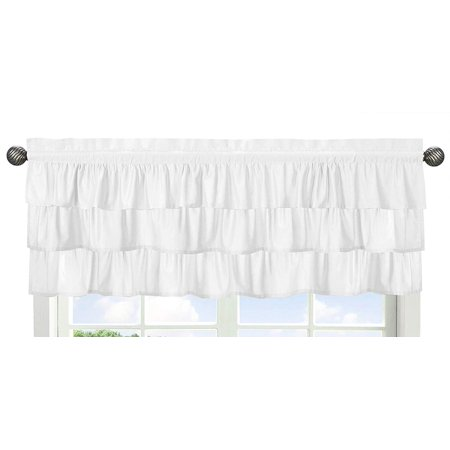Solid Color White Shabby Chic Ruffle Window Treatment Valance for Harper Collection by, Dimensions: 54 in. x 15 in. By Sweet Jojo Designs