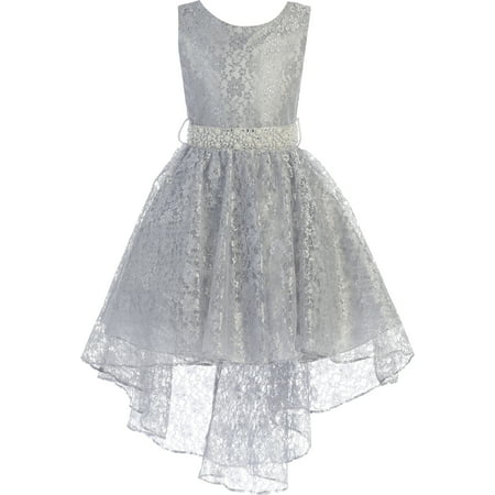 Little Girls Sleeveless Floral Lace Rhinestone High low Party Flower Girl Dress Silver Size 4  (J37K44)