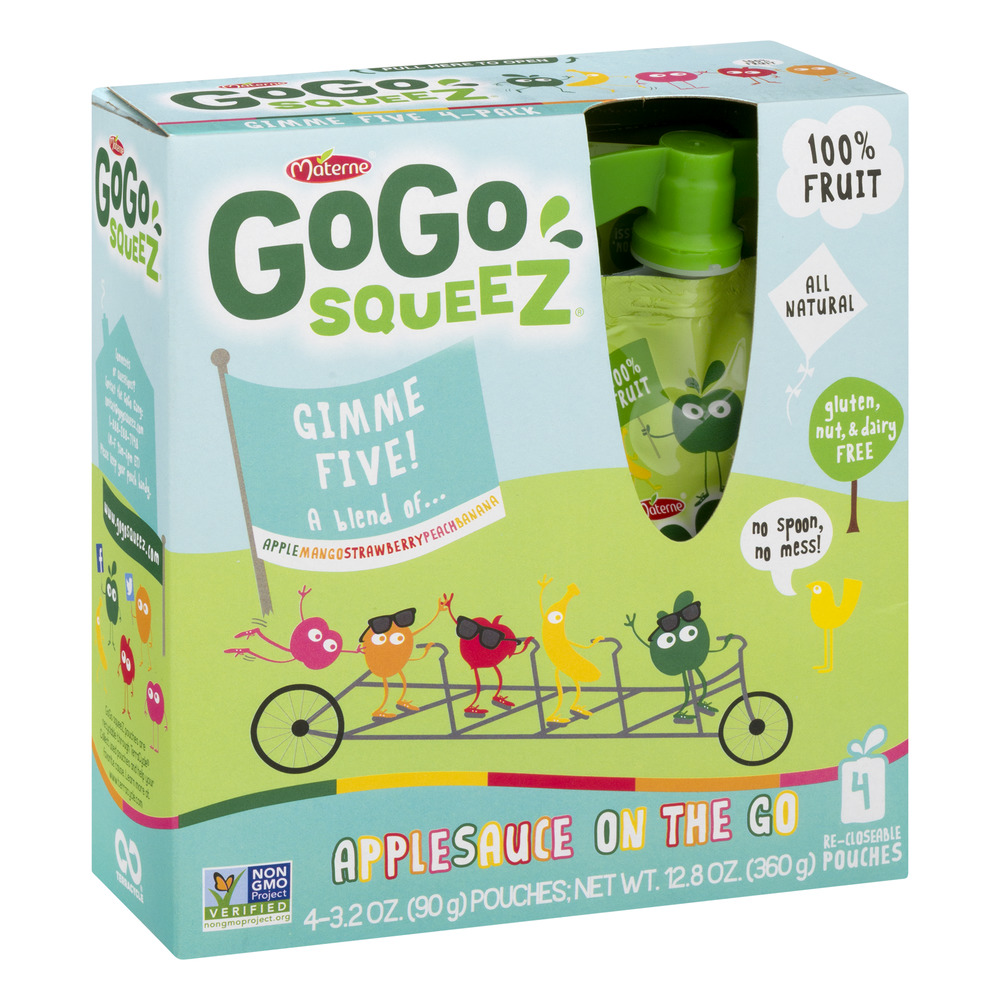 (3 Pack) GoGo SqueeZ Gimme Five! Applesauce on the Go, 4 - 3.2 oz bags
