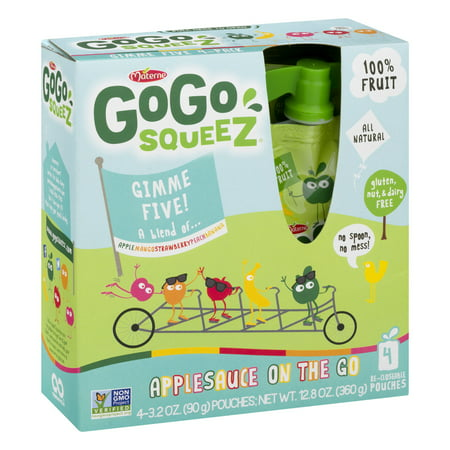 (3 Pack) GoGo SqueeZ Gimme Five! Applesauce on the Go, 4 - 3.2 oz bags Apple Mango Sauce