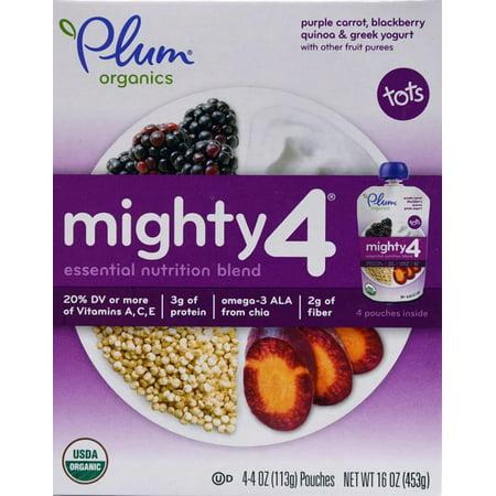 Plum Organics 4pk Mighty 4 Apple Blackberry Purple Carrot Greek Yogurt & Oat Baby Food Pouches - 16oz