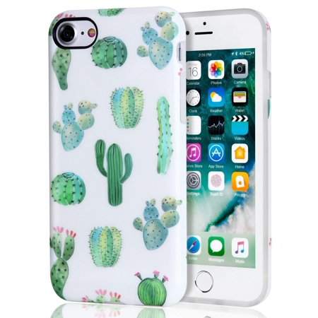 Cactus iPhone 7 Case, iPhone 8 Case, White Green Best Protective Cute Women Girl Clear Slim Shockproof Glossy Soft Silicone Rubber TPU Cover Phone Case For iPhone 7 / iPhone