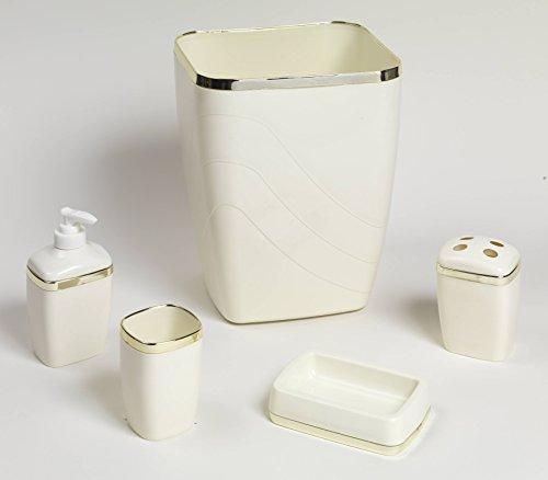 Royal Bath 5-Piece Plastic Bath Accessory Set (Ivory Gold) by
