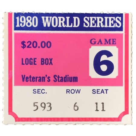 1980 World Series Game 6 Loge Box Ticket Stub Phillies Vs Royals