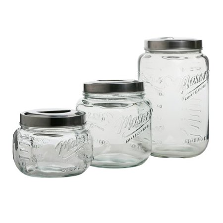 Mason Craft and More 3 Piece Square Glass Canister Set with Pop Up Lid (Halloween Crafts With Mason Jars)