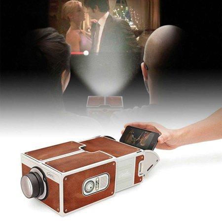 DIY 3D Cardboard Mini Smartphone Projector Light Novelty Adjustable Mobile Phone Projector Portable