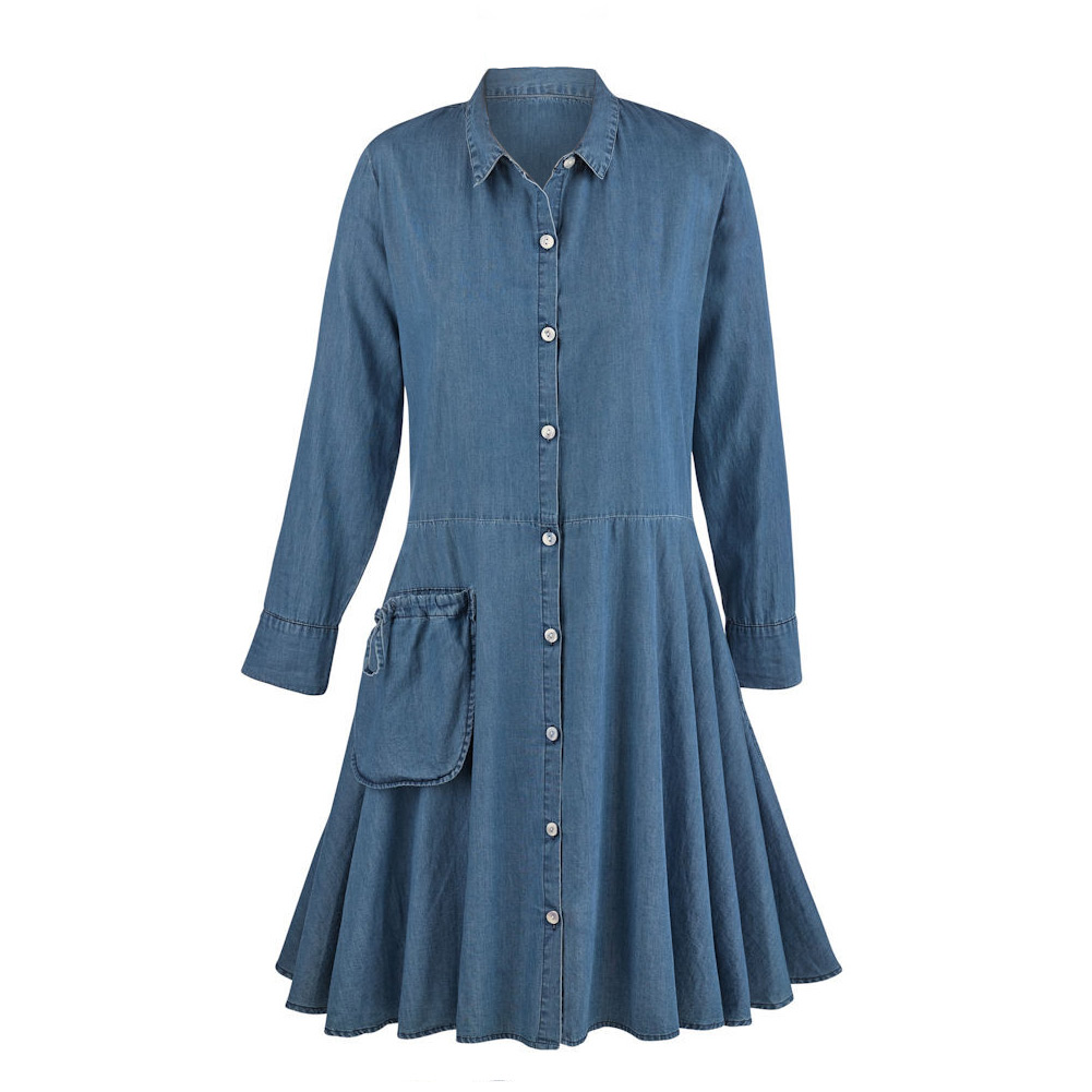 Tulip Women's Denim Tunic Dress - Button Down Collared Te...