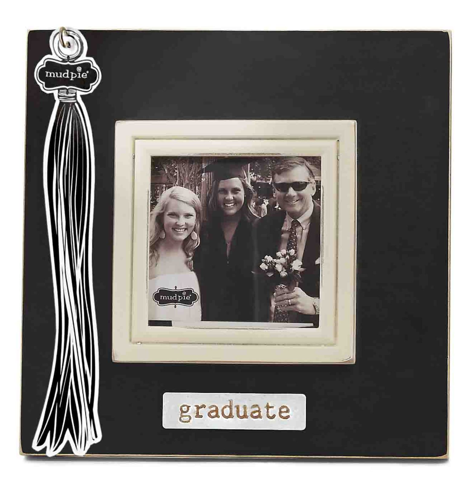 Keepsake Tassel Graduate 4 x 4 Photo Frame Wood Wall or Table Decor