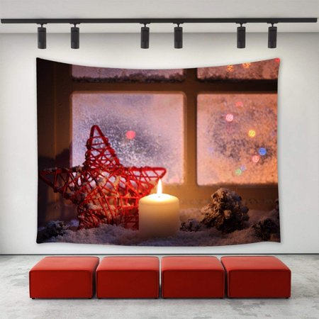 CADecor Christmas Eve Tapestry,,Christmas Evening Night Pine Cone Candle Winter Snow Window Star ,Xmas Christmas Day Wall Tapestries 40x60 inch