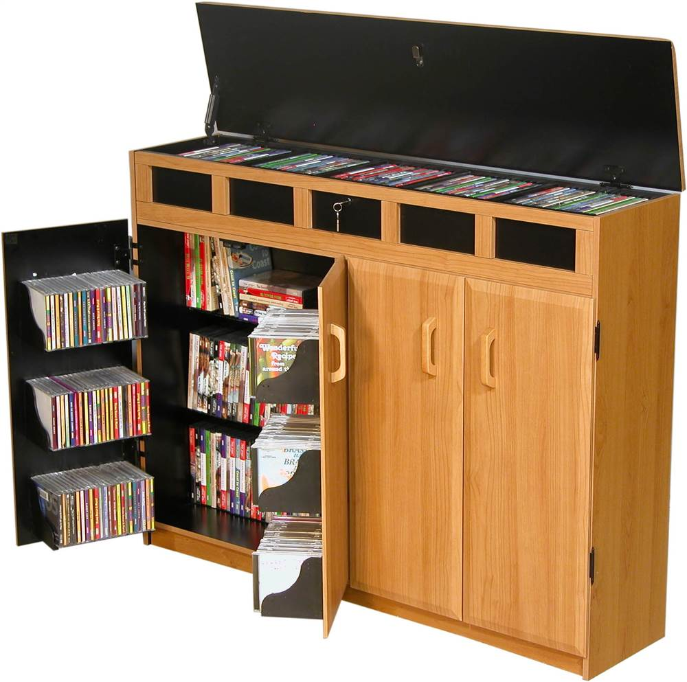 Top Load Media Storage Cabinet in Oak Finish w Black Interior