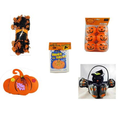 Halloween Fun Gift Bundle [5 Piece] -  Black & Orange Pumpkin Garland 10 ft. - Party Favors Pumpkin Candy Containers 6 Count -  Trick or Treat Bags 40/ct -  Felt Pumpkin Decoration - Plush Black Cat