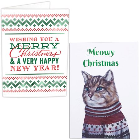 (Set) Musical Christmas And Meowy Prank Holiday Greeting Cards With Confetti ()