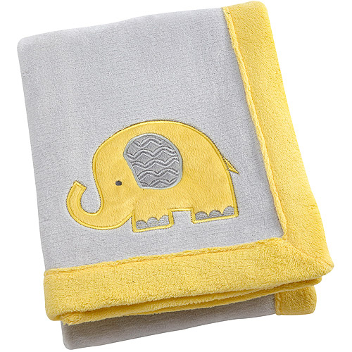 Little Bedding by Nojo Elephant Time Applique Coral Blanket, Yellow
