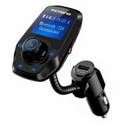 VicTsing Wireless Bluetooth FM Transmitter, Wireless Car Kit for Hands-free Calling and Music, 1.44 Inches Screen Supports Display Car Battery Voltage For iPhone,HTC and most Bluetooth Devices (Black)