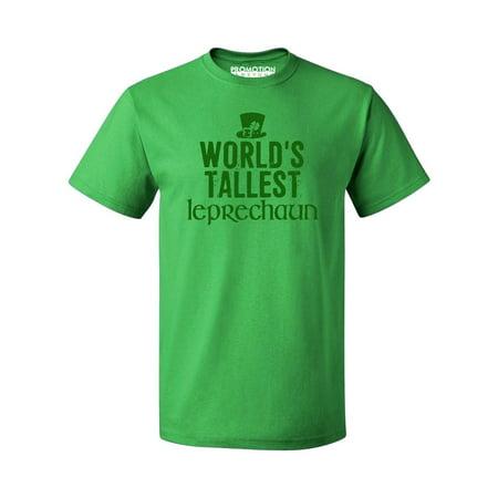 P&B GREEN WORLD'S TALLEST LEPRECHAUN EVER Irish St Patrick's Day Men's T-shirt, L, Green