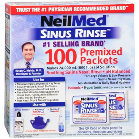 Neilmed Sinus Rinse Premixed Refill Packets 100 Each  Pack Of 2