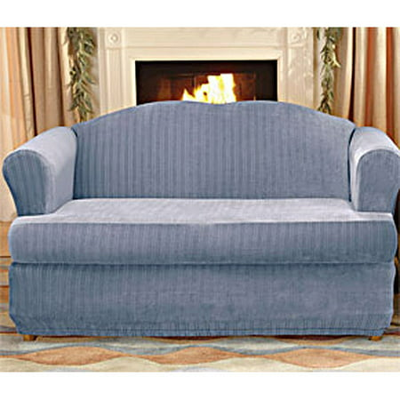 Sure Fit Stretch Pinstripe 2 Piece T-Cushion Sofa Slipcover