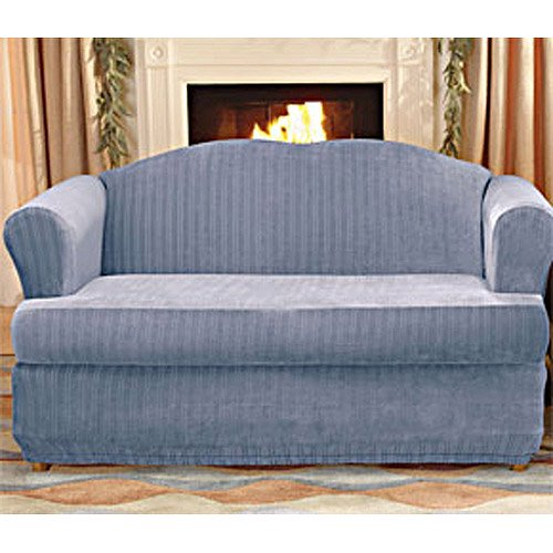 Sure Fit Stretch Pinstripe 2 Piece T-Cushion Sofa Slipcover ...